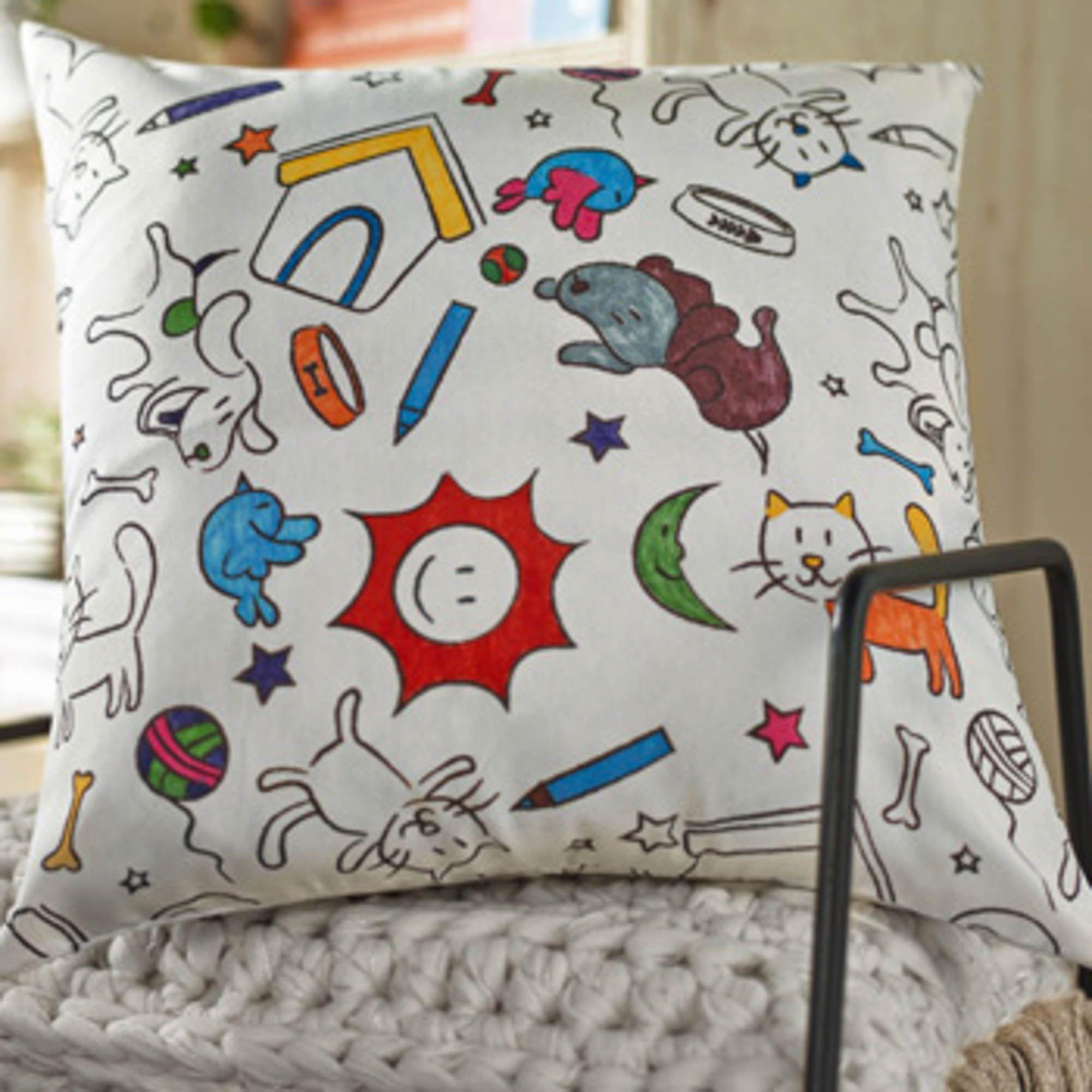 Almofada para colorir santista infantil 45x45cm colorito
