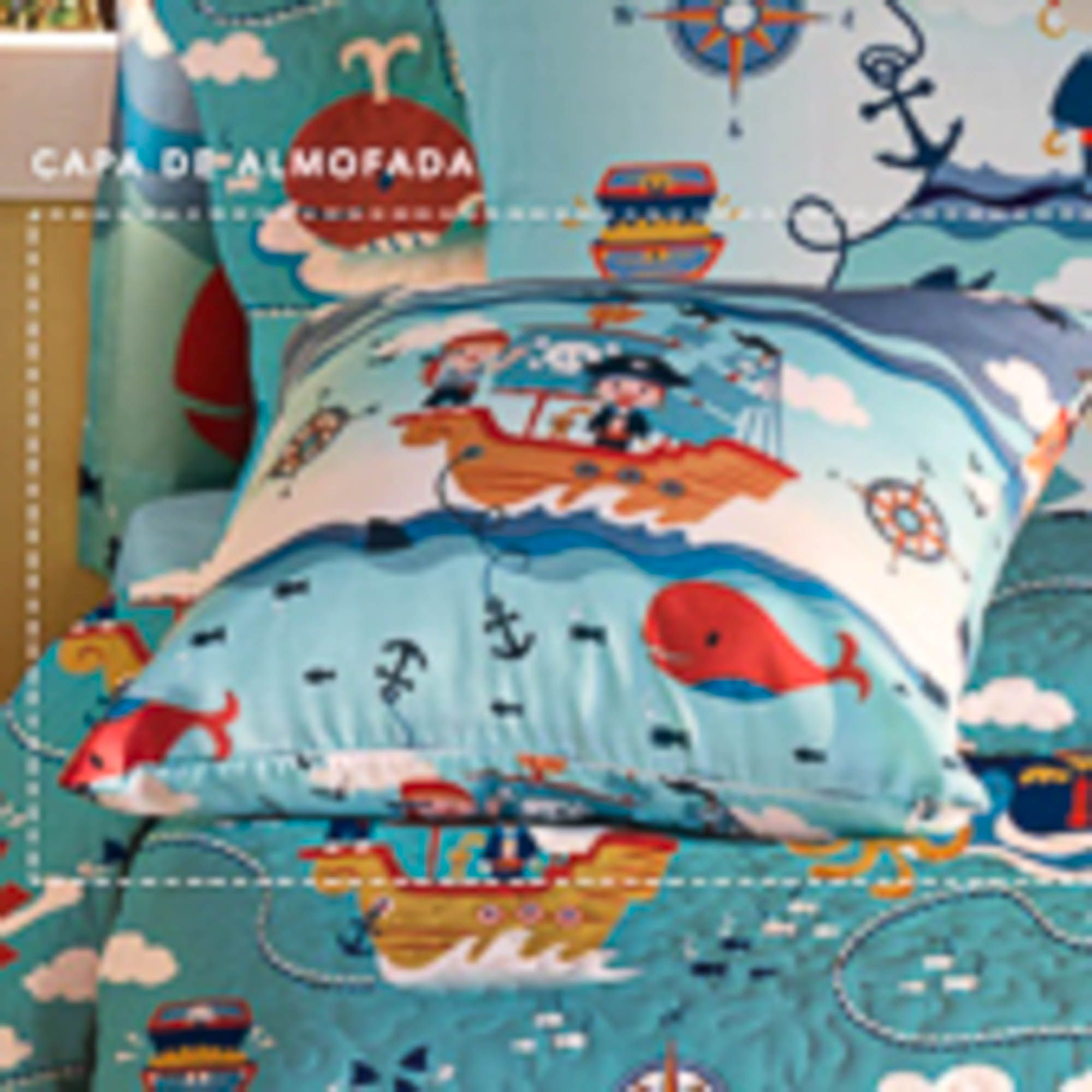 Almofada Santista Infantil 45x45cm Piratas Azul