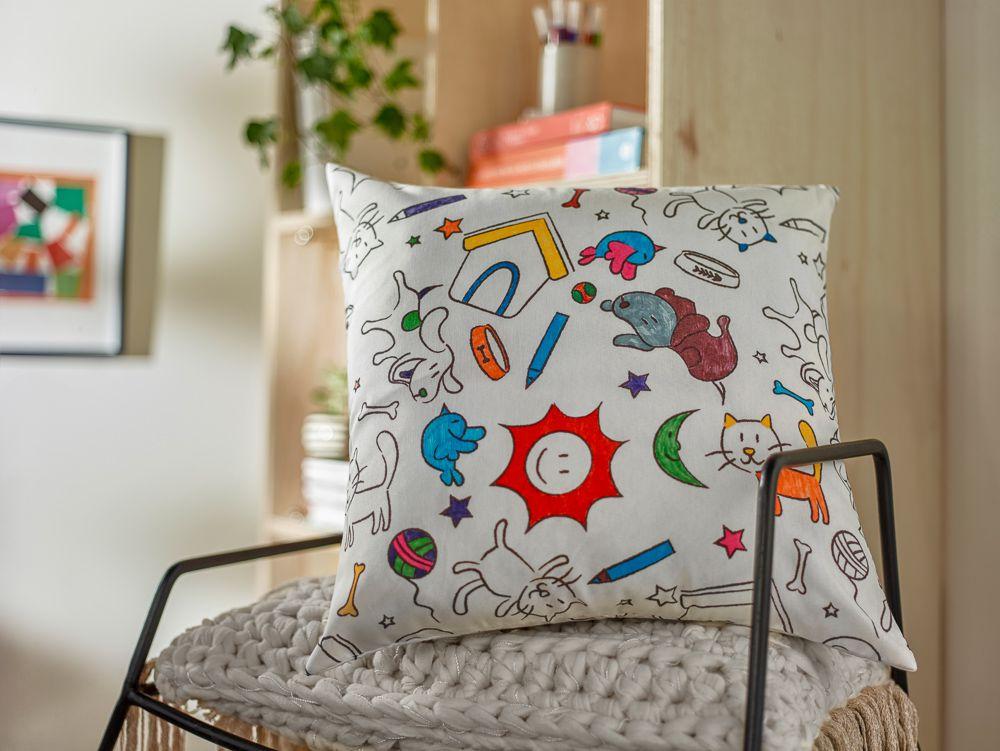 Capa para almofada para colorir colorito santista 45 x 45 cm
