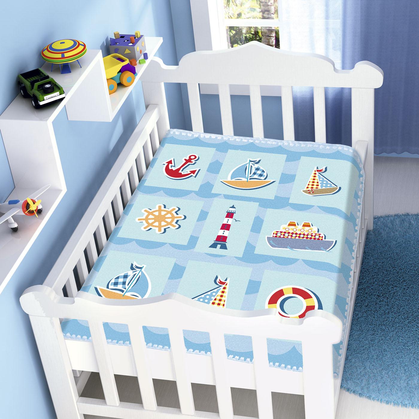 Cobertor Bebê Infantil Jolitex Raschel 0,90x1,10m Barquinhos Azul