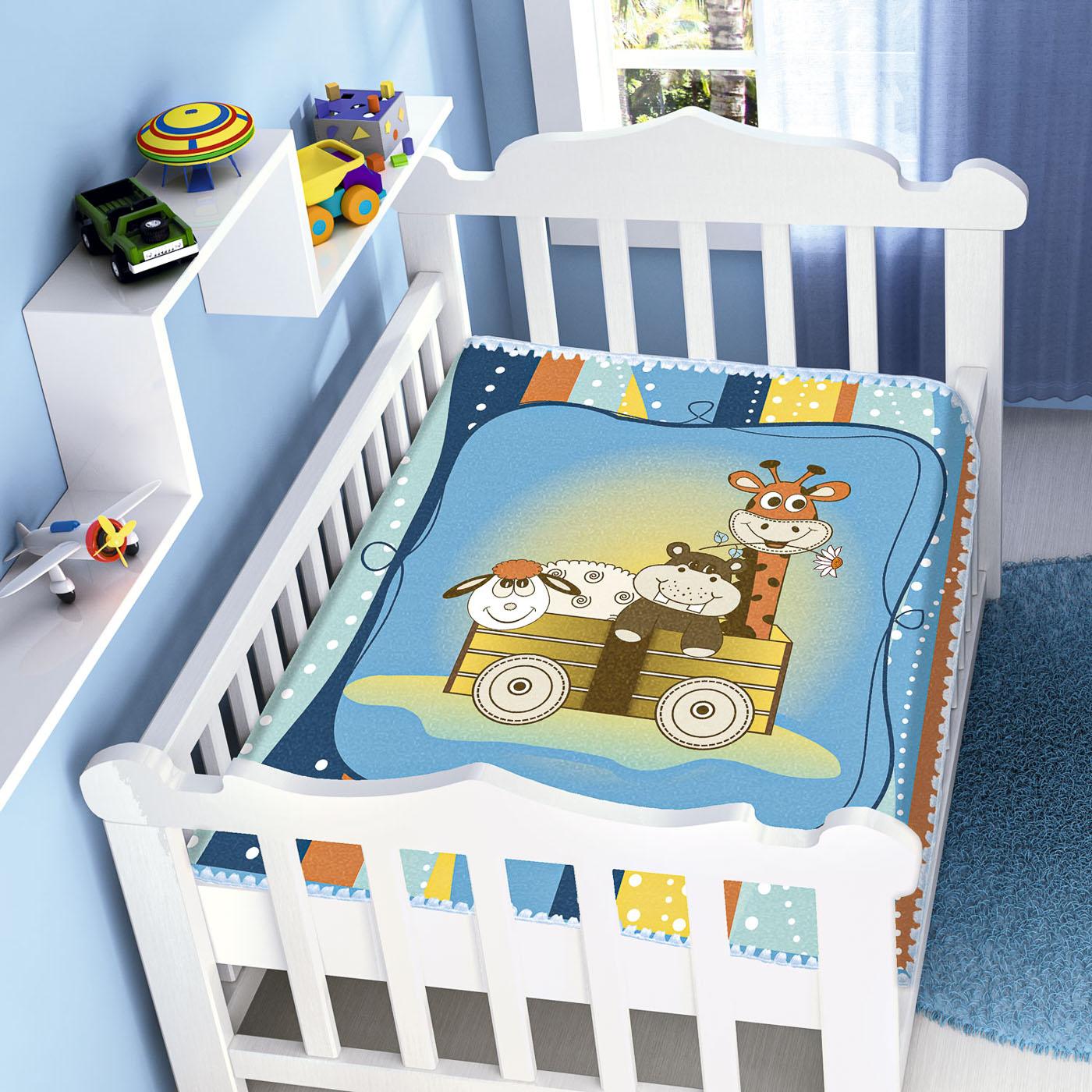 Cobertor Bebê Infantil Jolitex Raschel 0,90x1,10m Bichinhos Azul