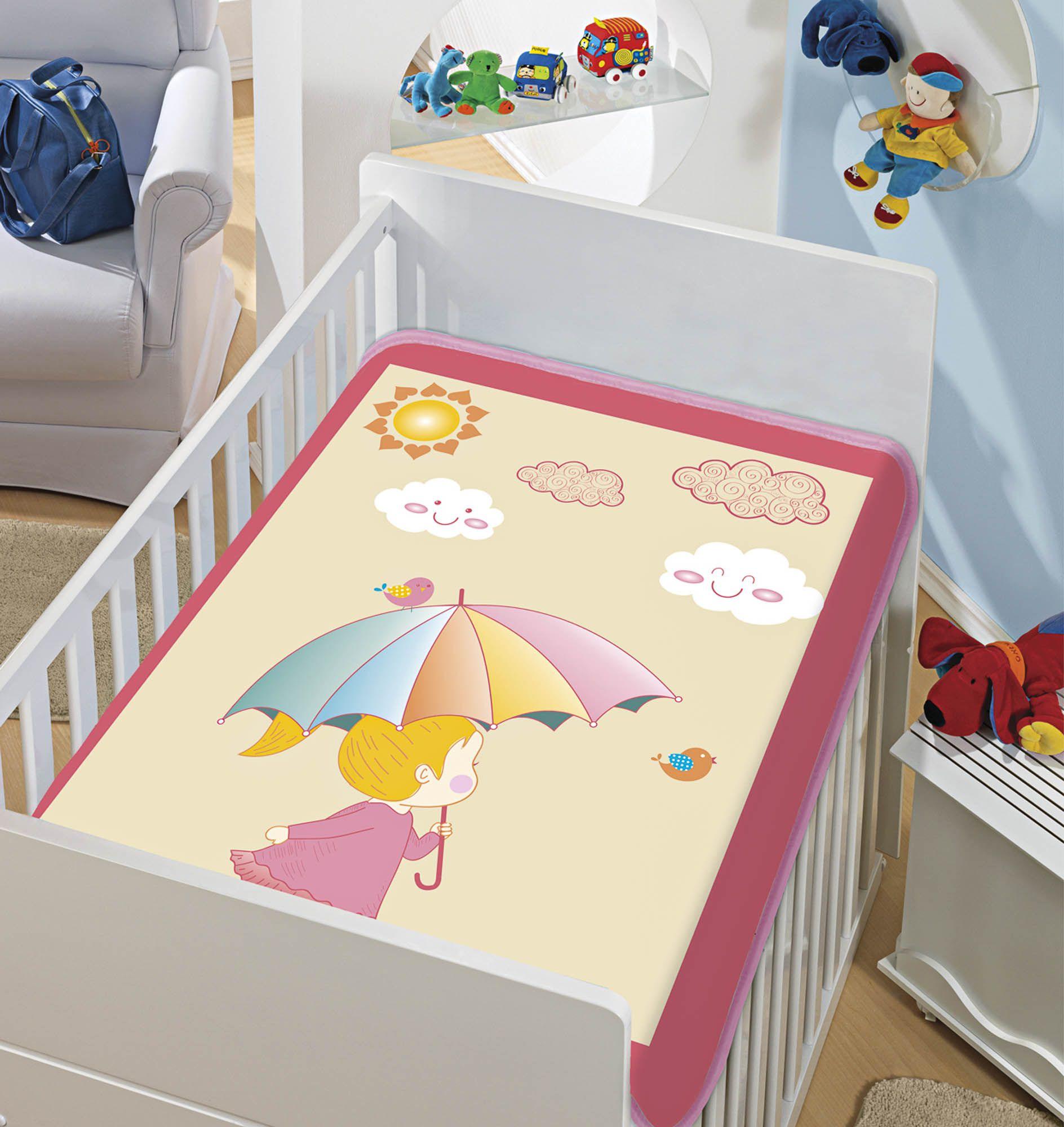 Cobertor Bebê Infantil Jolitex Raschel 0,90x1,10m Dia de Sol Rosa