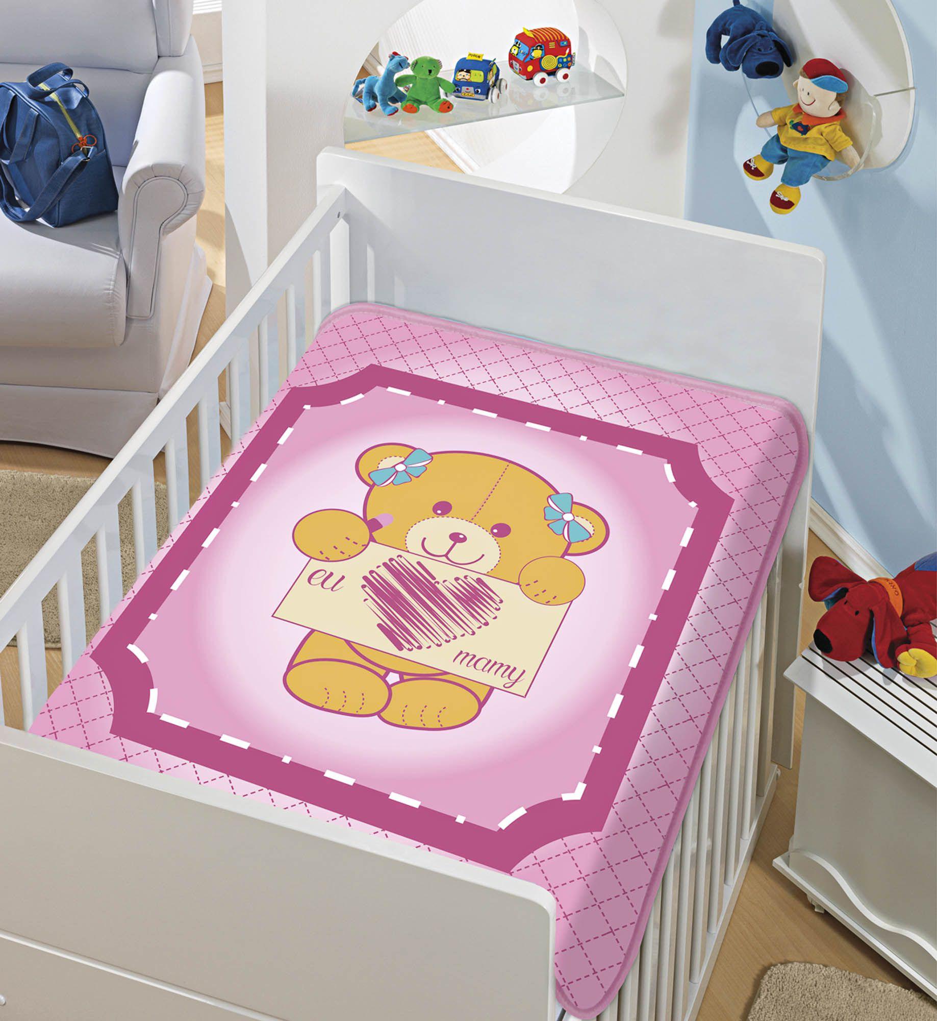 Cobertor Bebê Infantil Jolitex Raschel 0,90x1,10m Eu Amo Mamy Rosa
