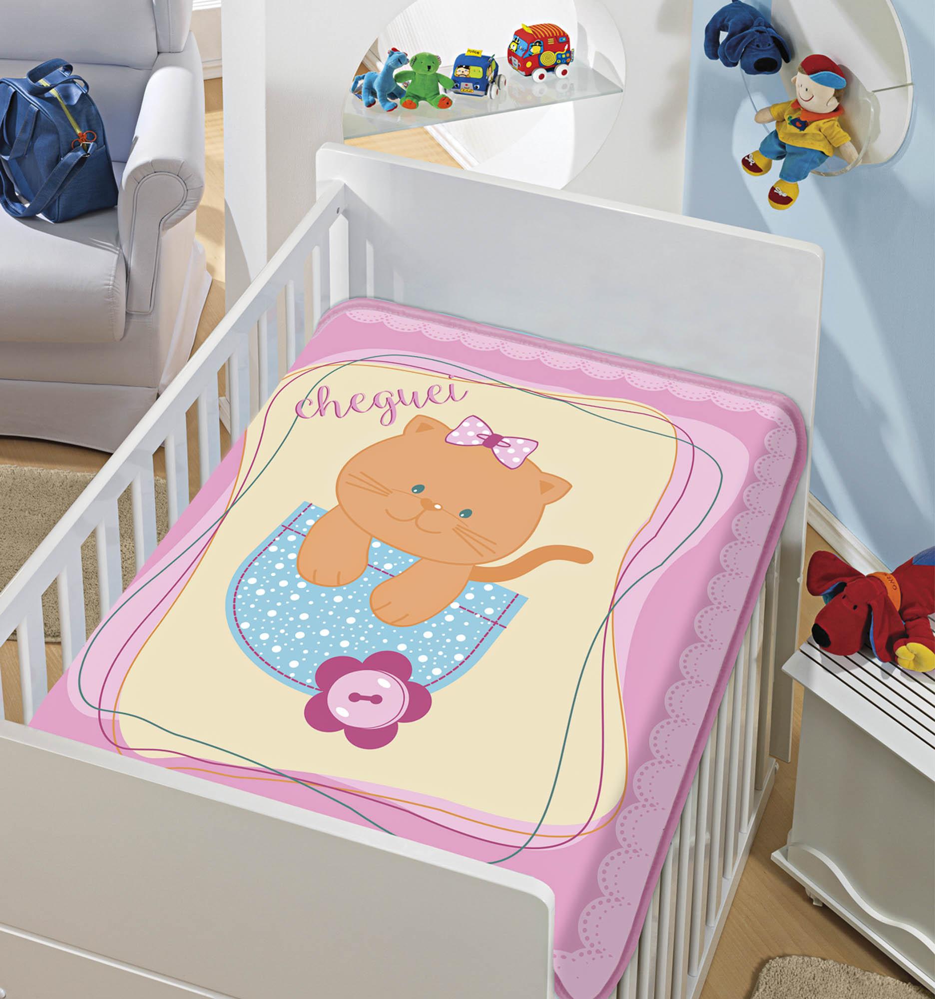 Cobertor Bebê Infantil Jolitex Raschel 0,90x1,10m Gatinha Chegou Rosa