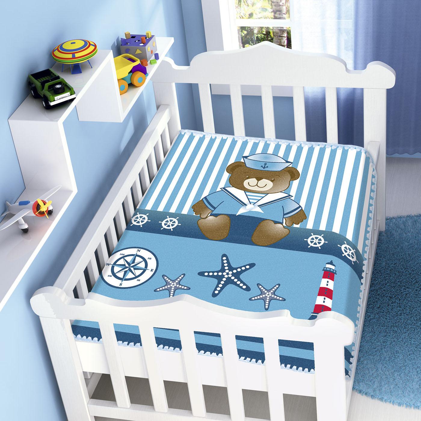 Cobertor Bebê Infantil Jolitex Raschel 0,90x1,10m Marinheiro Azul