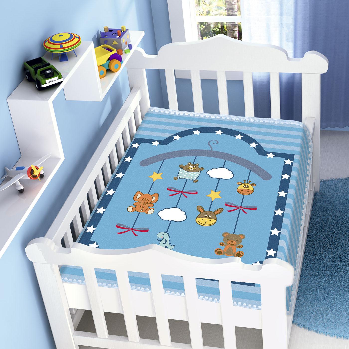 Cobertor Bebê Infantil Jolitex Raschel 0,90x1,10m Mobile Azul
