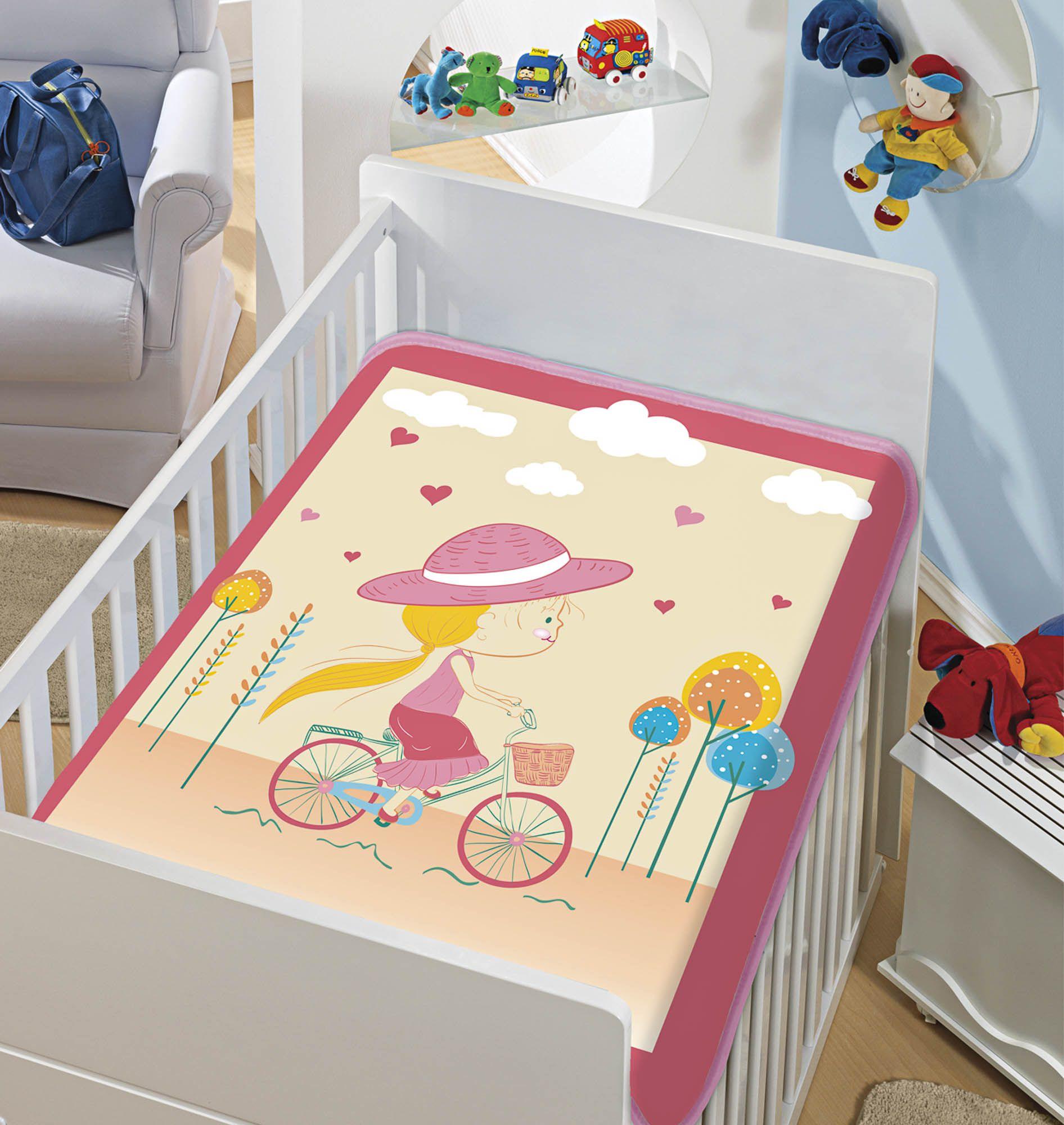 Cobertor Bebê Infantil Jolitex Raschel 0,90x1,10m Mocinha Pedalando Rosa