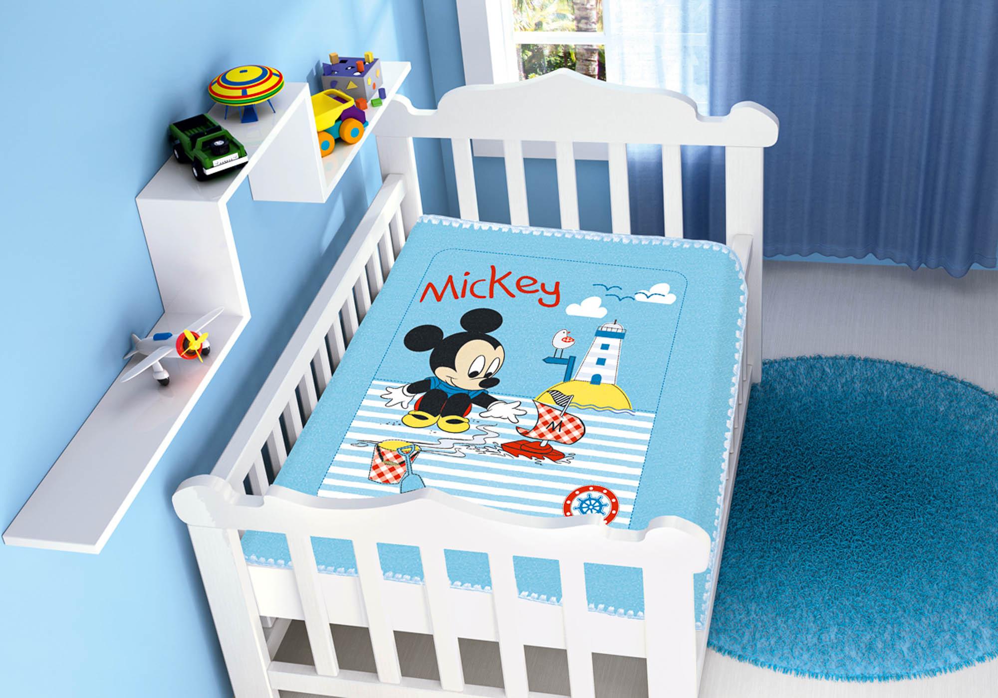 Cobertor Bebê Jolitex 0,90x1,10m Disney Mickey Barquinho