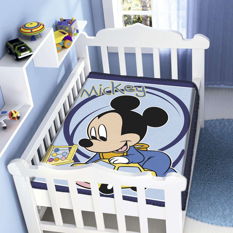 Cobertor Bebê Jolitex 0,90x1,10m Disney Mickey Carrinhos Marinho