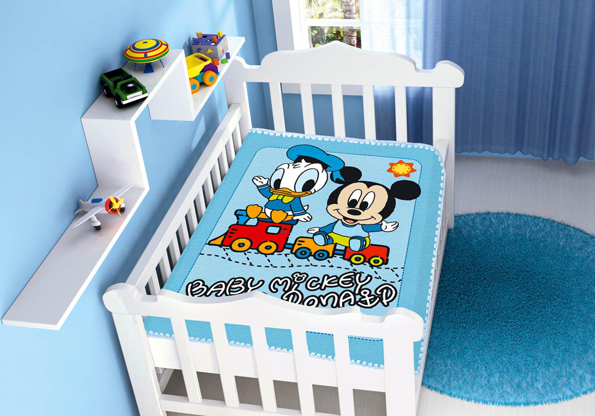 Cobertor Bebê Jolitex 0,90x1,10m Disney Mickey e Donald