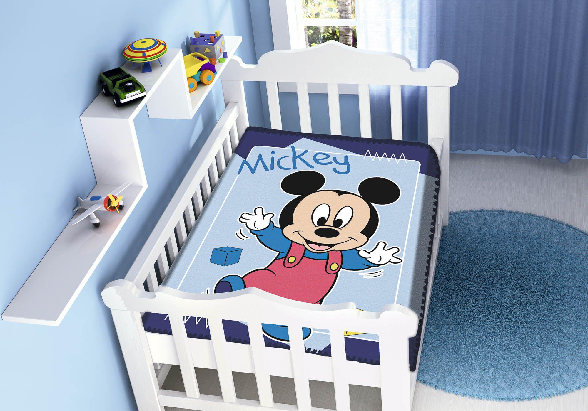 Cobertor Bebê Jolitex 0,90x1,10m Disney Mickey Passinhos Marinho