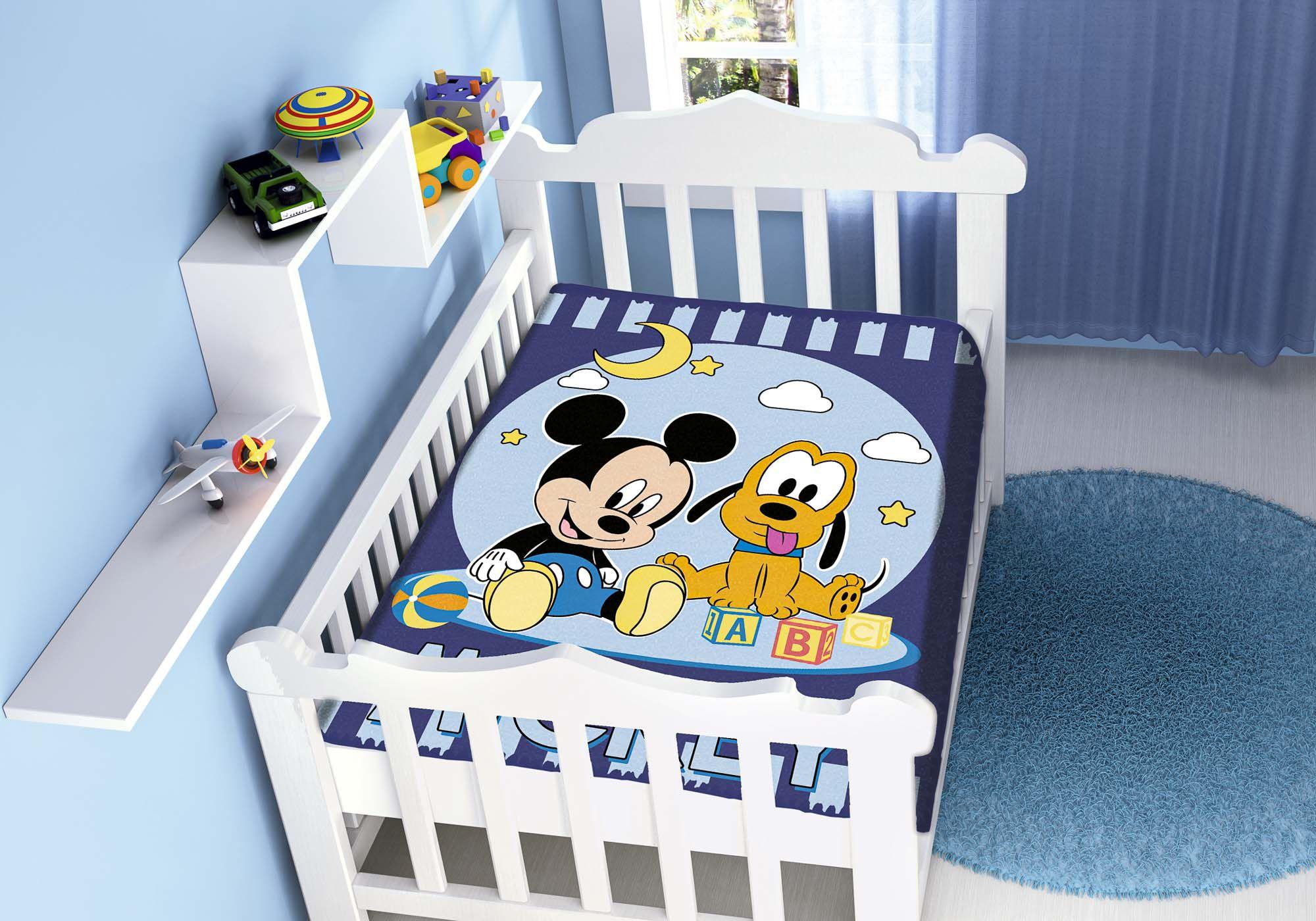 Cobertor Bebê Jolitex 0,90x1,10m Disney Mickey Pluto Marinho