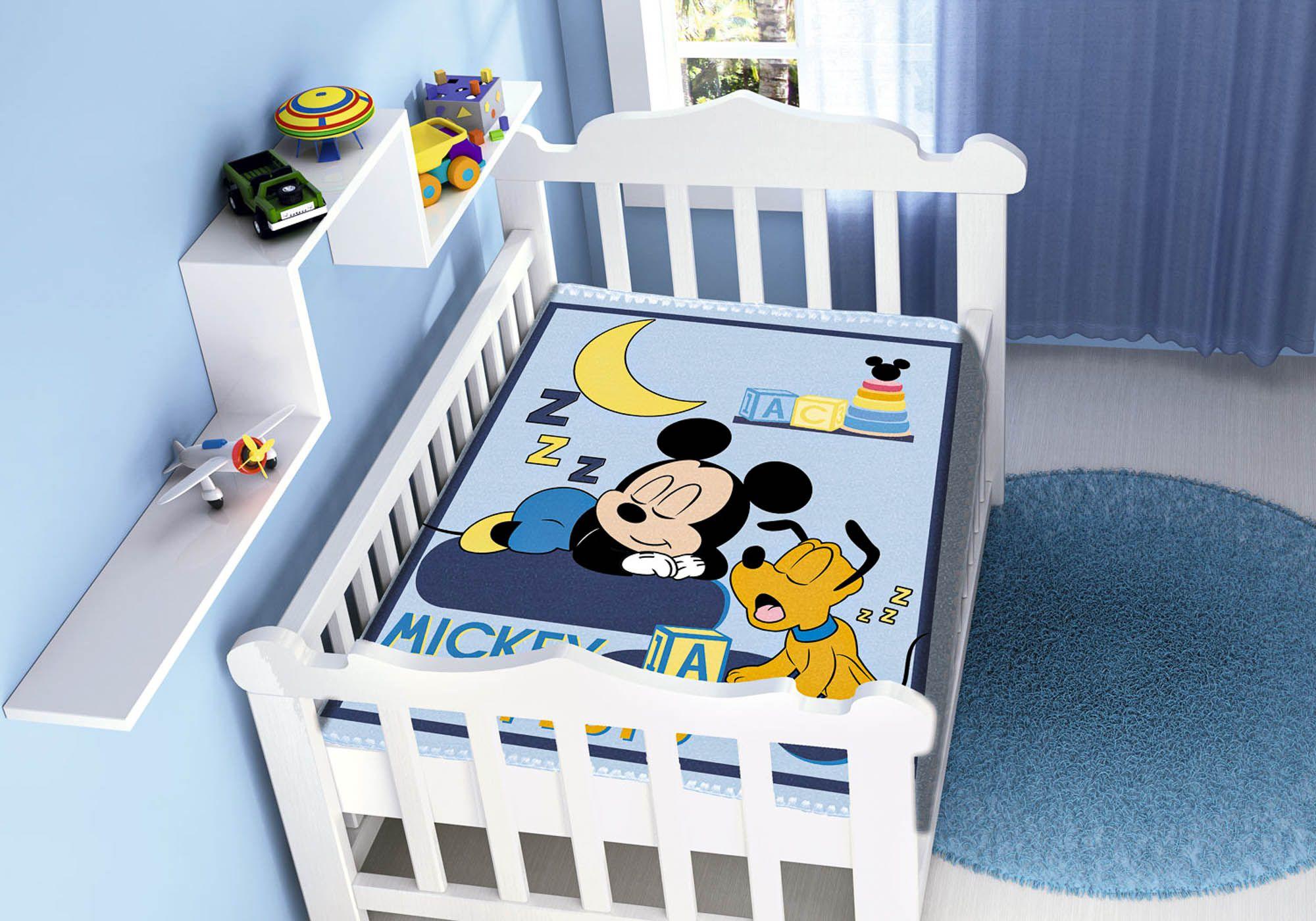 Cobertor Bebê Jolitex 0,90x1,10m Disney Mickey Sonhando Marinho