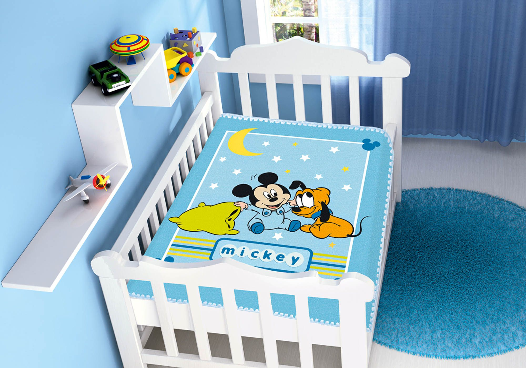 Cobertor Bebê Jolitex 0,90x1,10m Disney Mickey Soninho