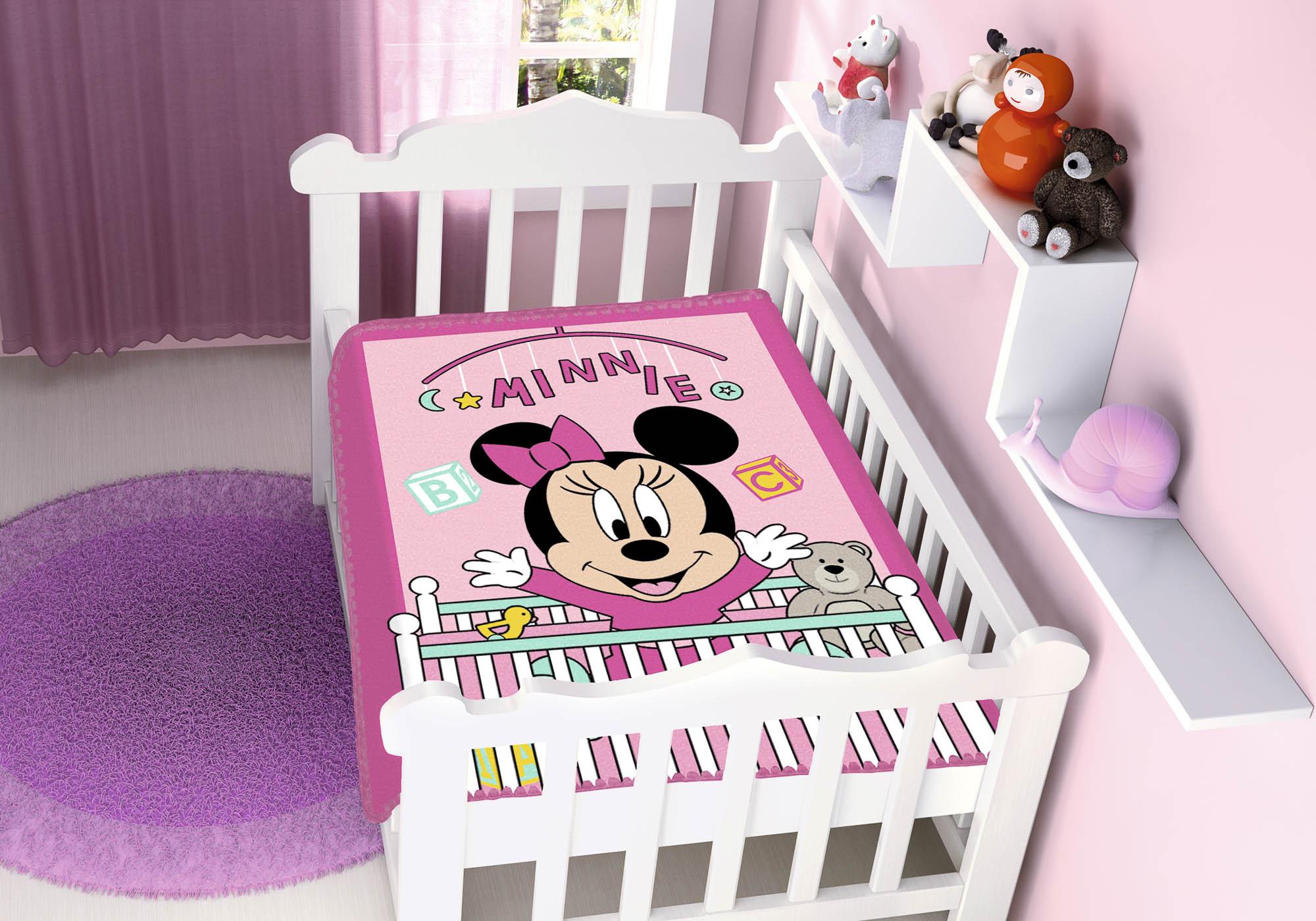 Cobertor Bebê Jolitex 0,90x1,10m Disney Minnie Bercinho Rosa