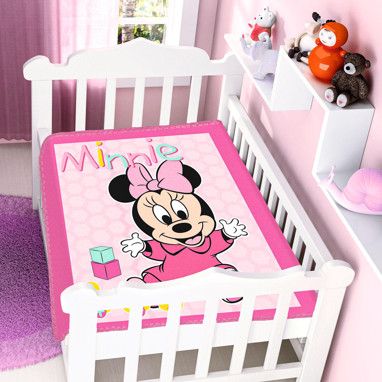 Cobertor Bebê Jolitex 0,90x1,10m Disney Minnie Patinhos Rosa