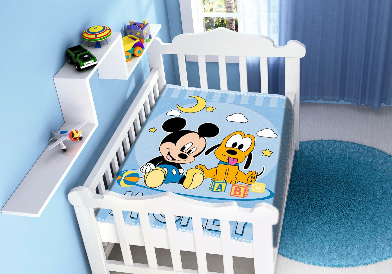 Cobertor Bebê Jolitex Antialérgico Disney Mickey Pluto Azul