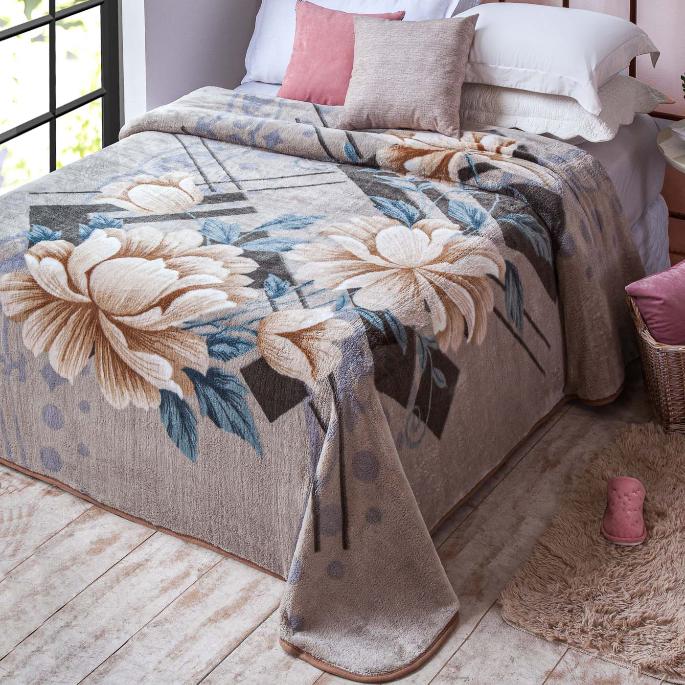 Cobertor Casal Antialergico Jolitex Kyor Plus Pristina Bege
