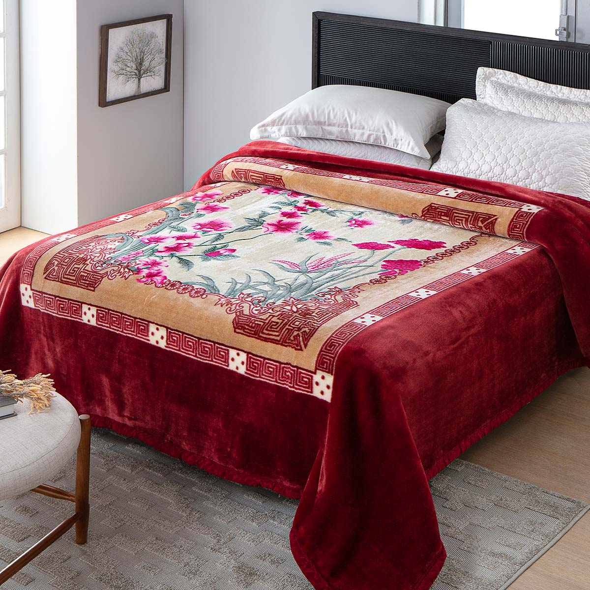 Cobertor Casal Antialérgico Raschel Jolitex 1,80x2,20m Adriatico Vinho