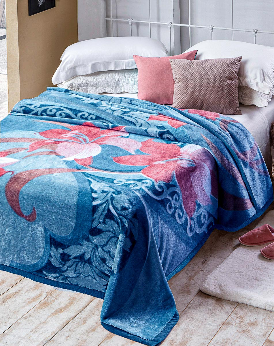 Cobertor Casal Antialérgico Raschel Jolitex 1,80x2,20m Danubio Azul
