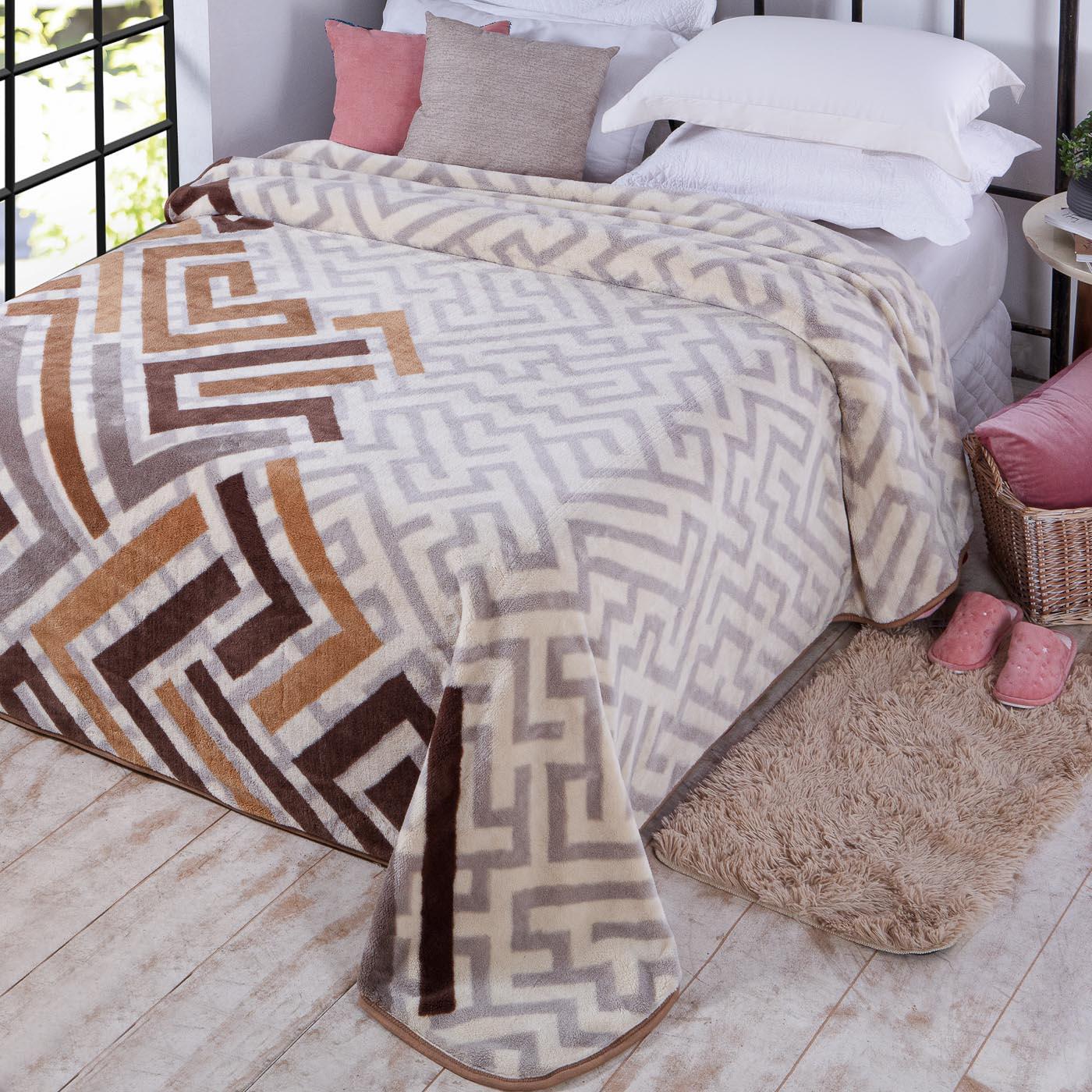 Cobertor Casal Kyor Plus Jolitex Ternille 1,80mx2,20m Zurique Bege