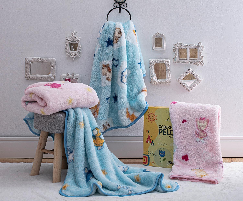 Cobertor Jolitex Bebe Pelo Alto Infantil Carneirinhos Azul
