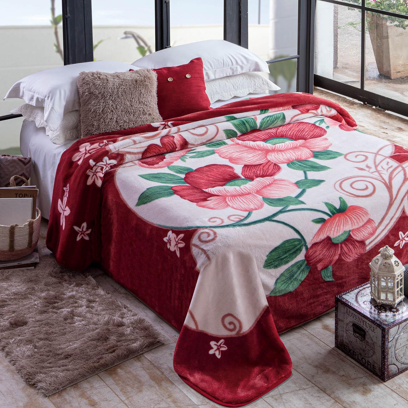 Cobertor Jolitex Casal Kyor Plus 1,80x2,20m Atlanta Vinho