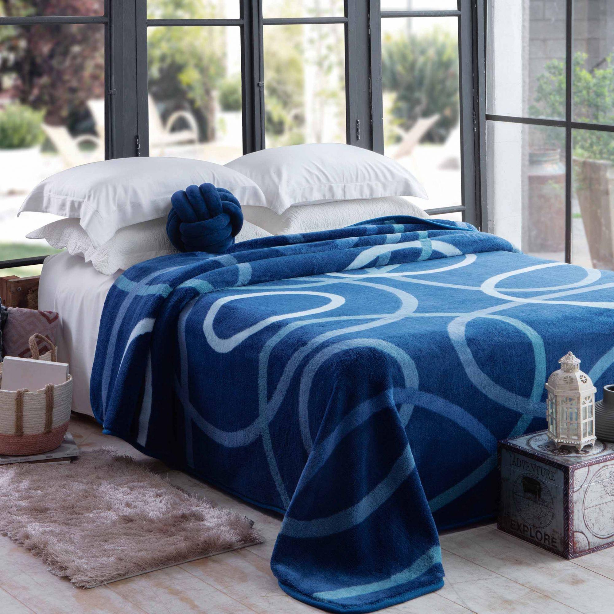 Cobertor Jolitex Casal Kyor Plus 1,80x2,20m Avalon Azul