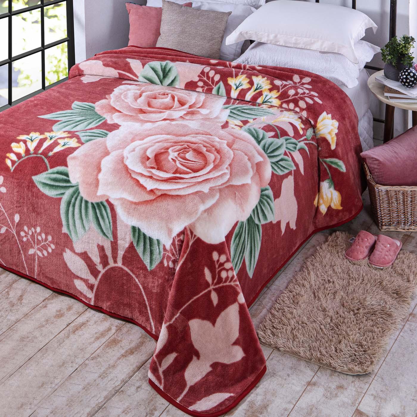 Cobertor Jolitex Casal Kyor Plus 1,80x2,20m Kiruna Rosê