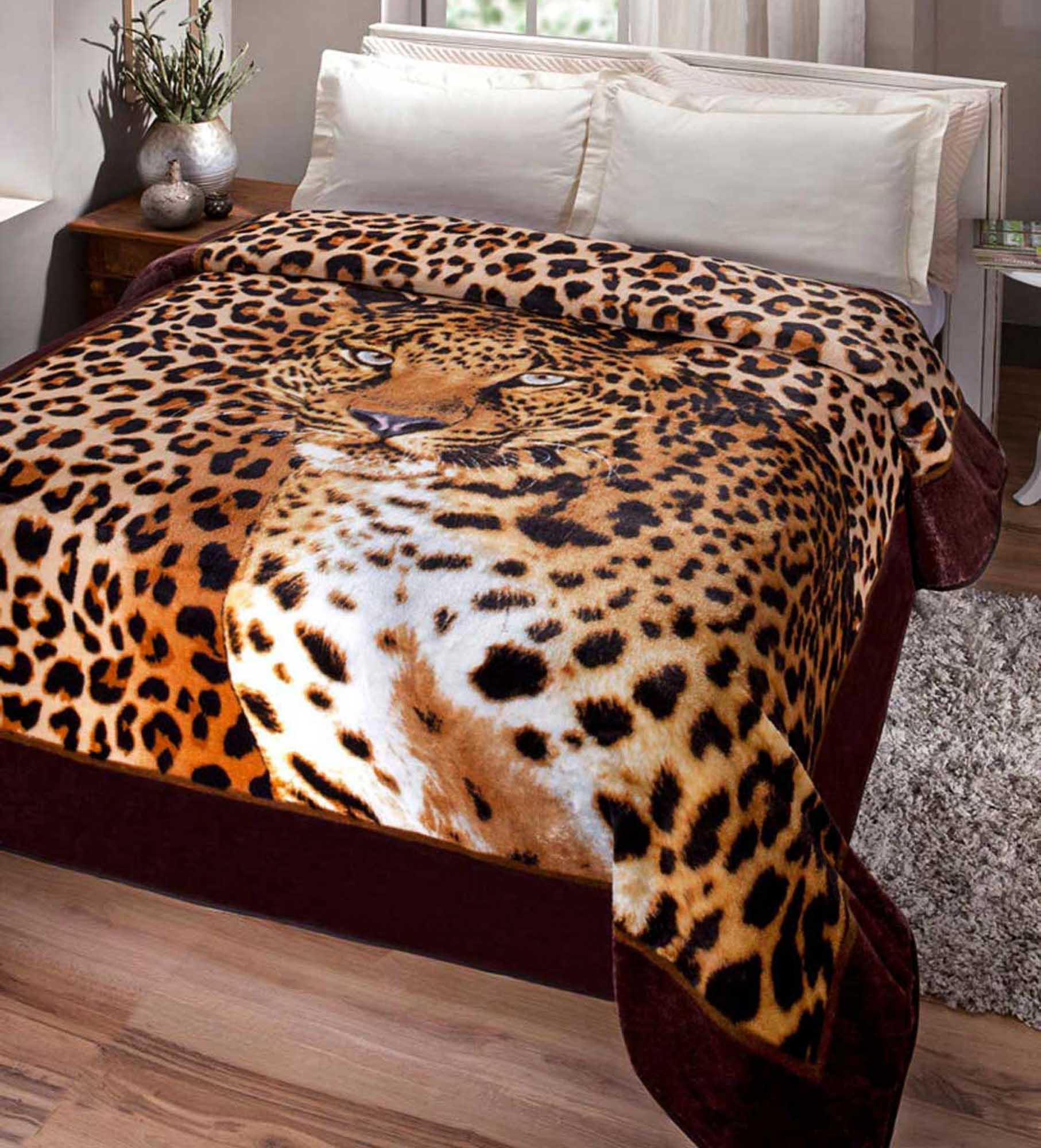 Cobertor Jolitex Casal Kyor Plus 1,80x2,20m Leopardo