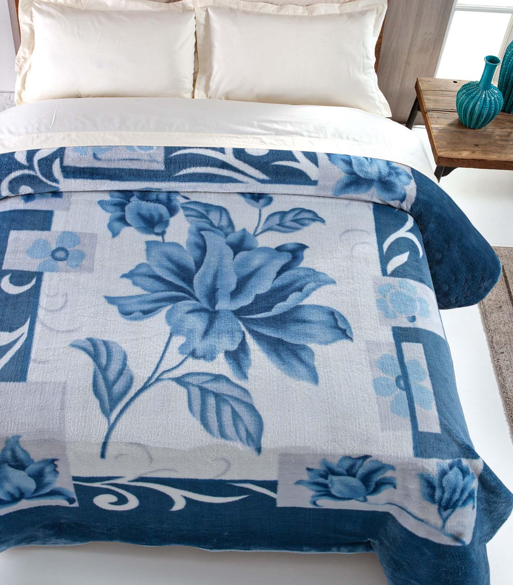 Cobertor Jolitex Casal Kyor Plus 1,80x2,20m Soft Malbec Azul