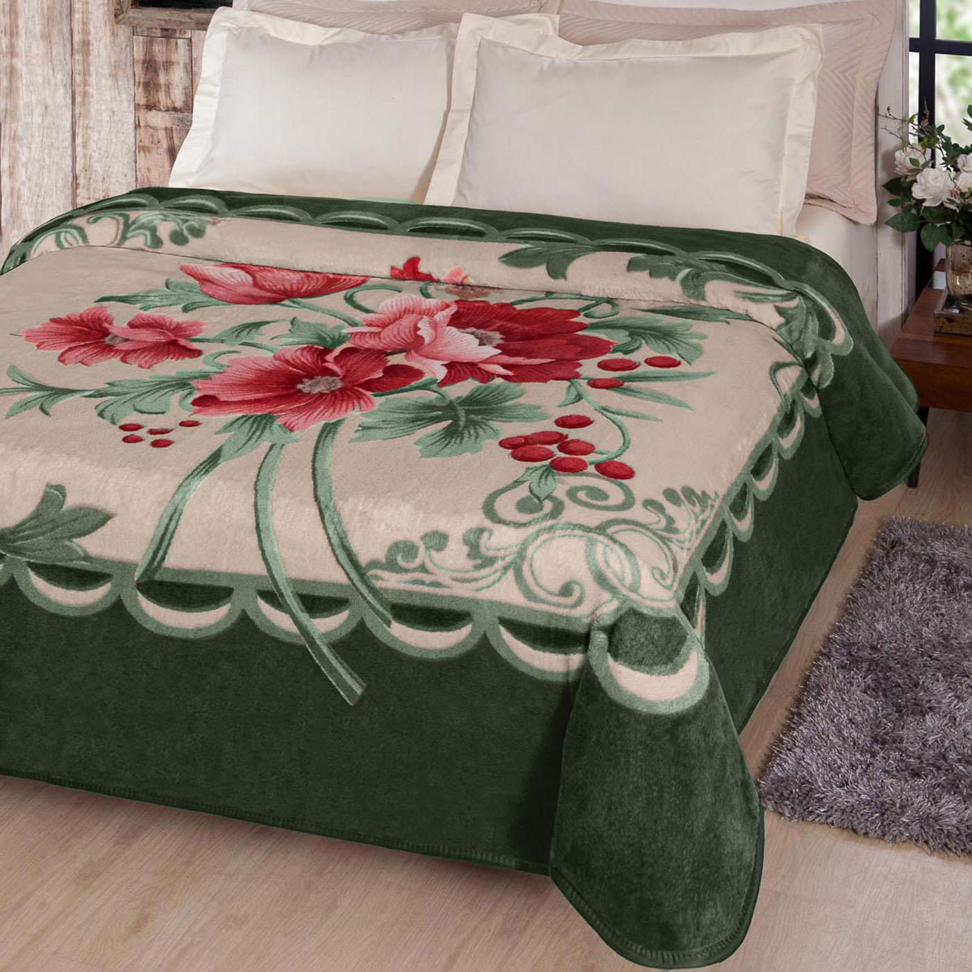 Cobertor Jolitex Kyor Plus King 2,20x2,40m Fiore Verde