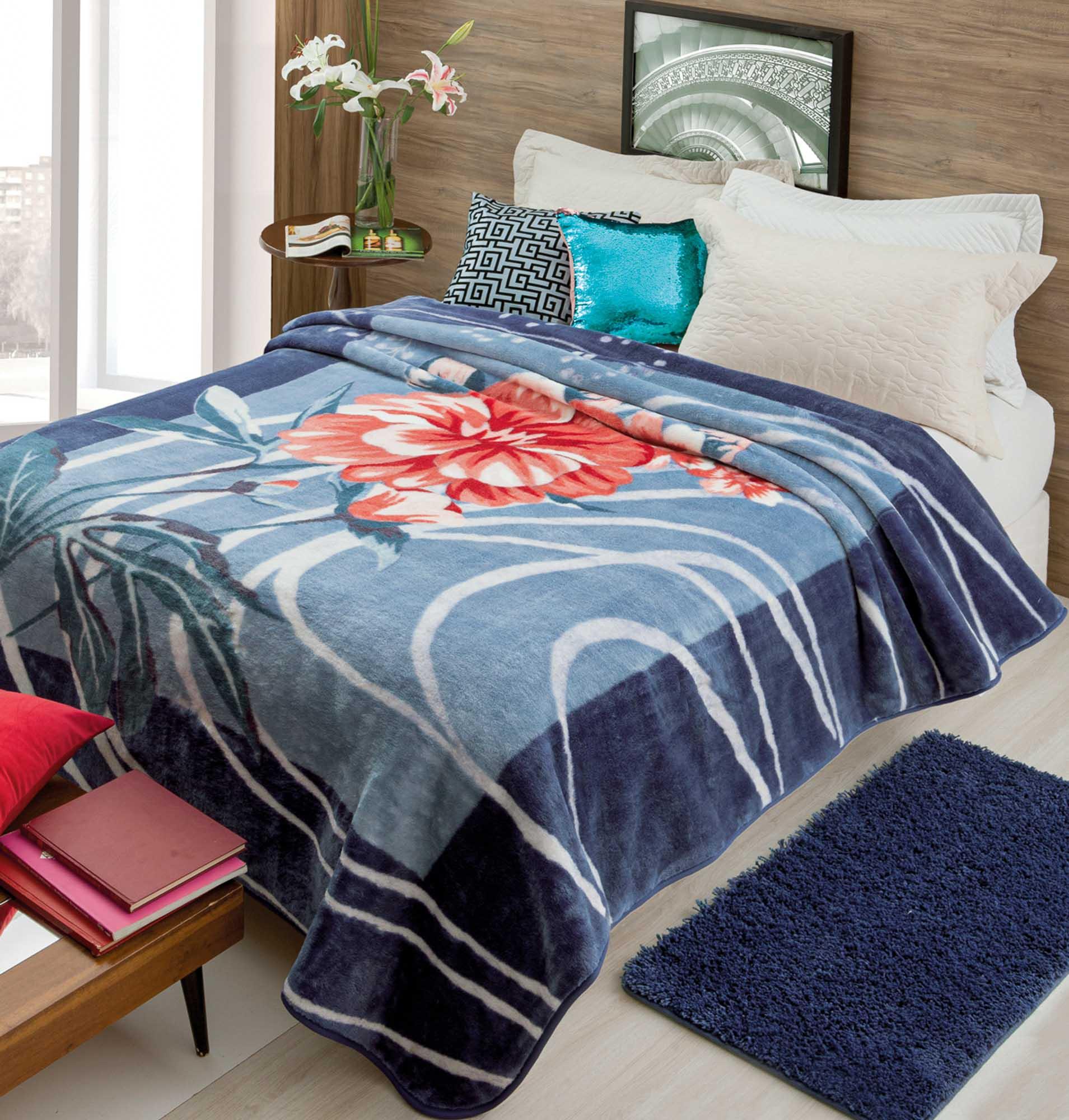 Cobertor Jolitex Raschel Casal 1,80x2,20m Miquerinos Azul