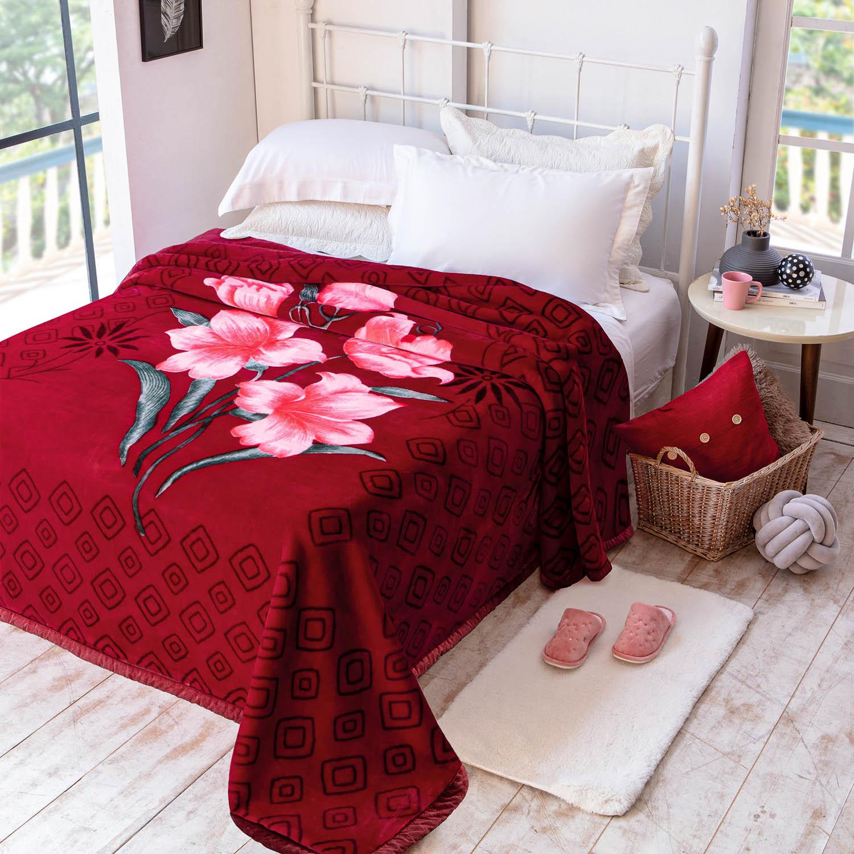 Cobertor Jolitex Raschel Casal 1,80x2,20m Palouse Vinho