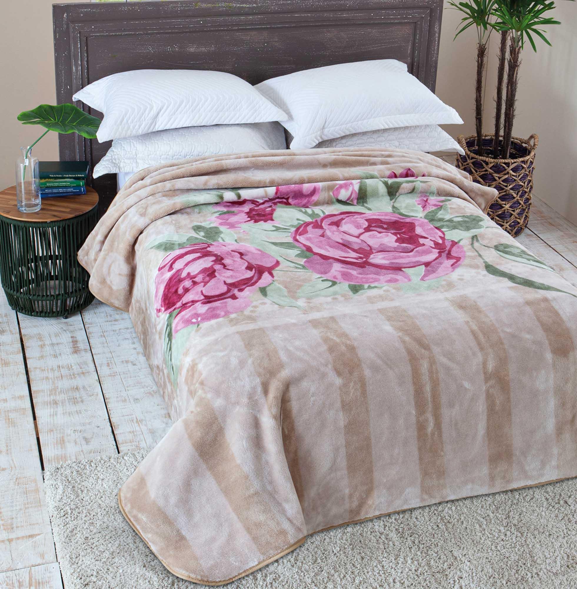 Cobertor Jolitex Raschel Casal 1,80x2,20m Primore Bege
