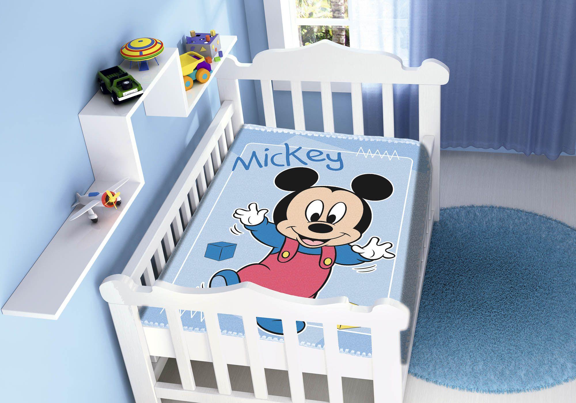 Cobertor Jolitex Raschel Infantil 0,90x1,10m Disney Mickey Passinhos