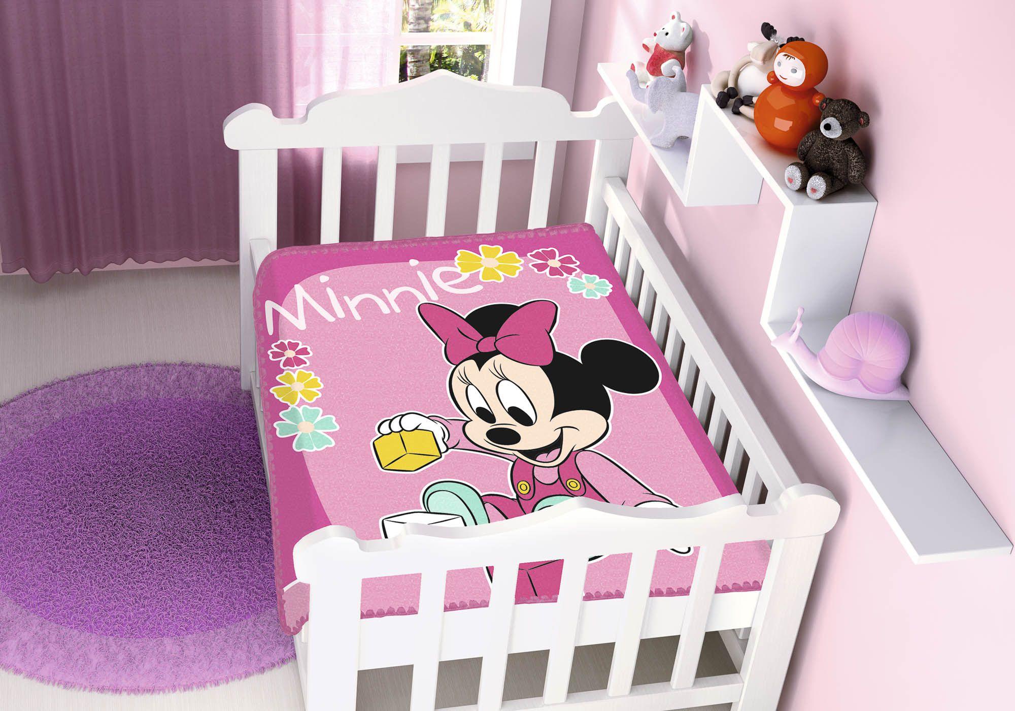 Cobertor Jolitex Raschel Infantil 0,90x1,10m Disney Minnie Brincando