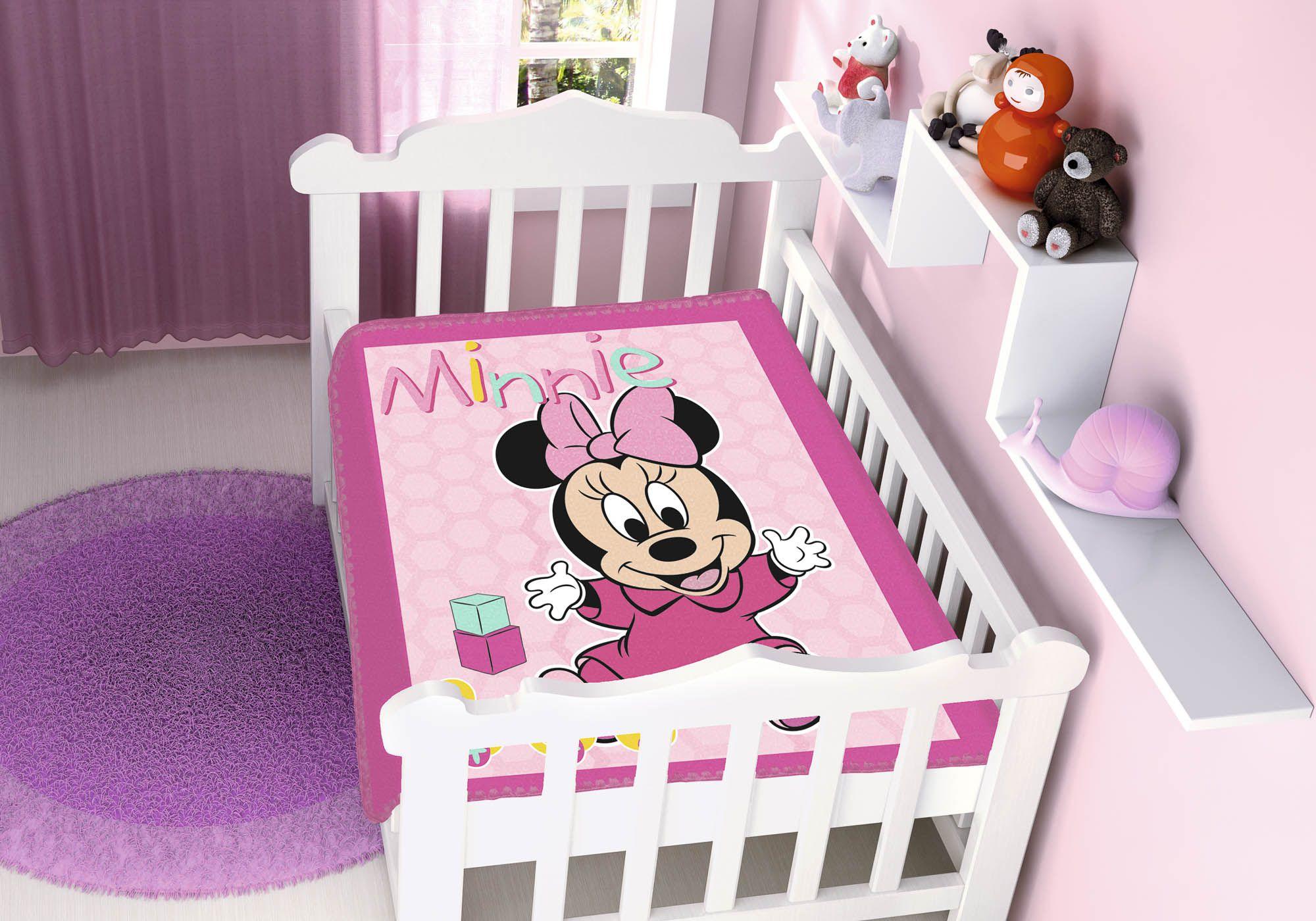 Cobertor Jolitex Raschel Infantil 0,90x1,10m Disney Minnie Patinhos