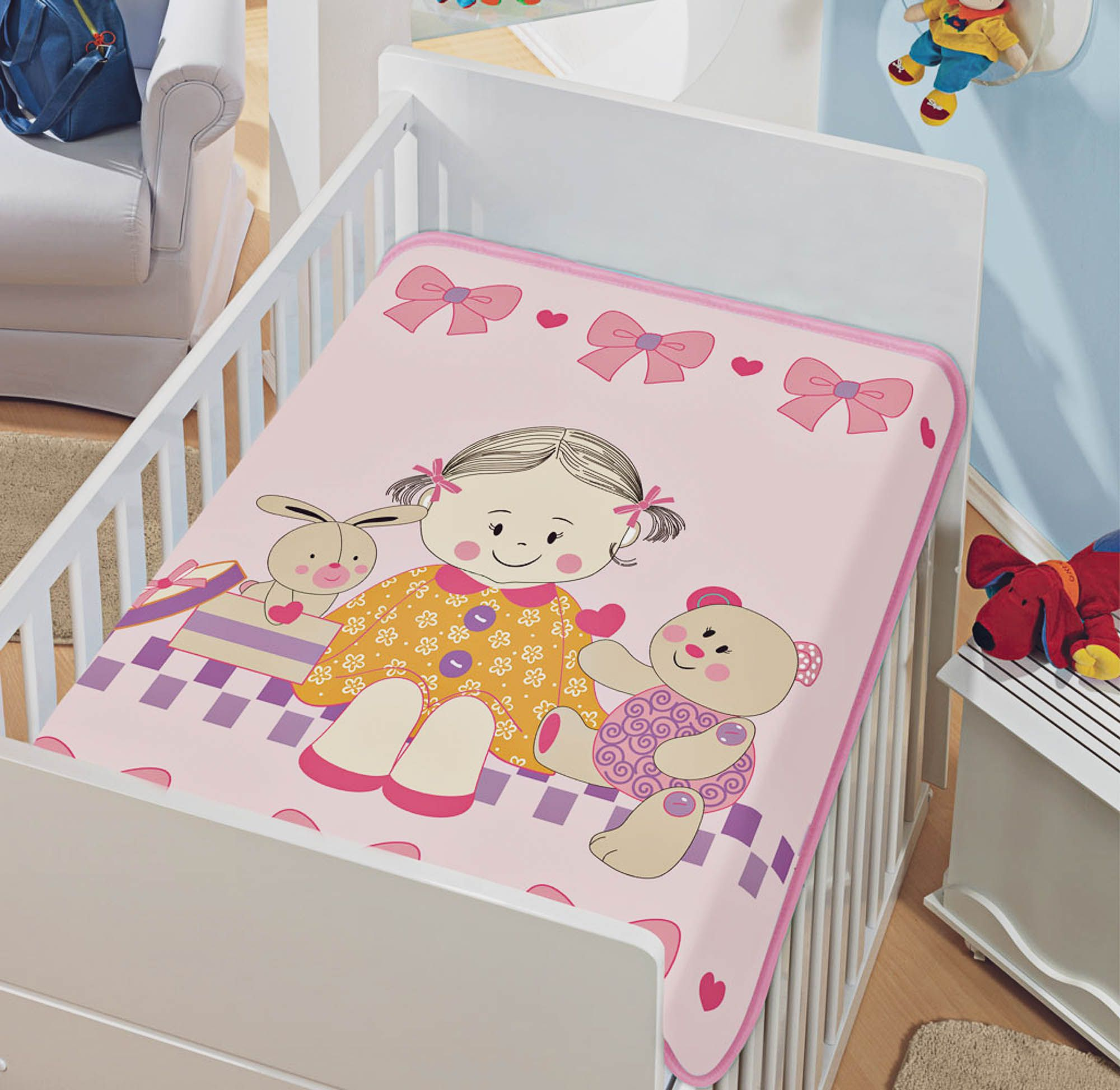 Cobertor Jolitex Raschel Infantil 0,90x1,10m Doce Amigas Rosa