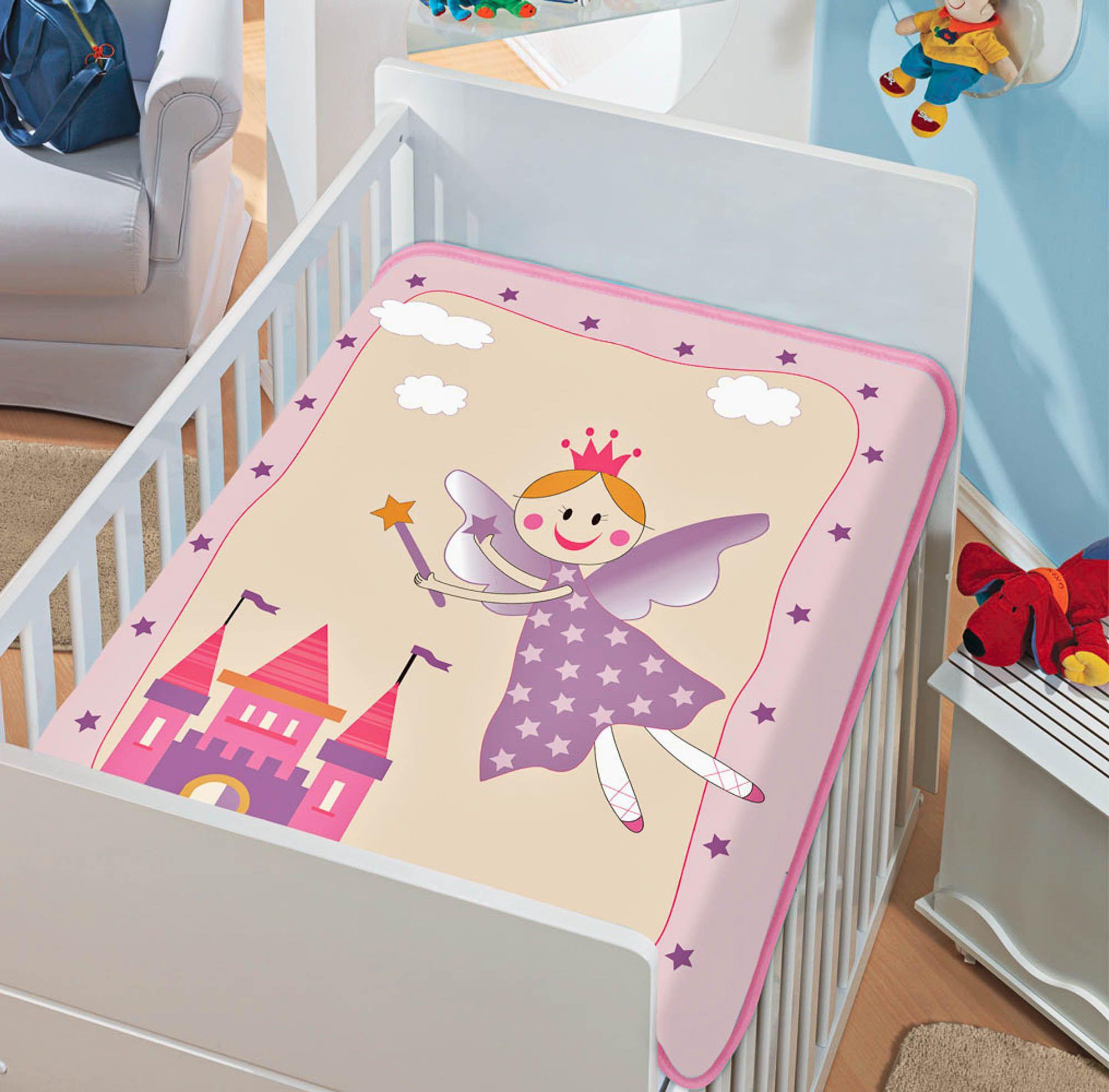 Cobertor Jolitex Raschel Infantil 0,90x1,10m Fadinha Feliz Rosa