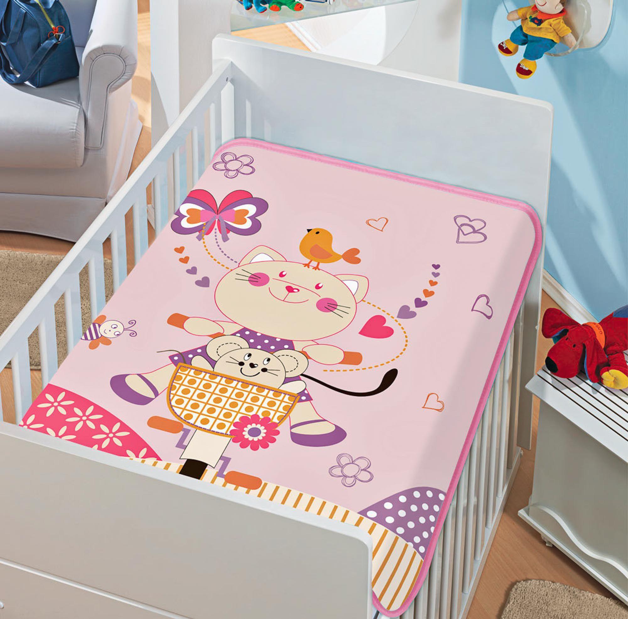 Cobertor Jolitex Raschel Infantil 0,90x1,10m Gatinha Pedalando Rosa