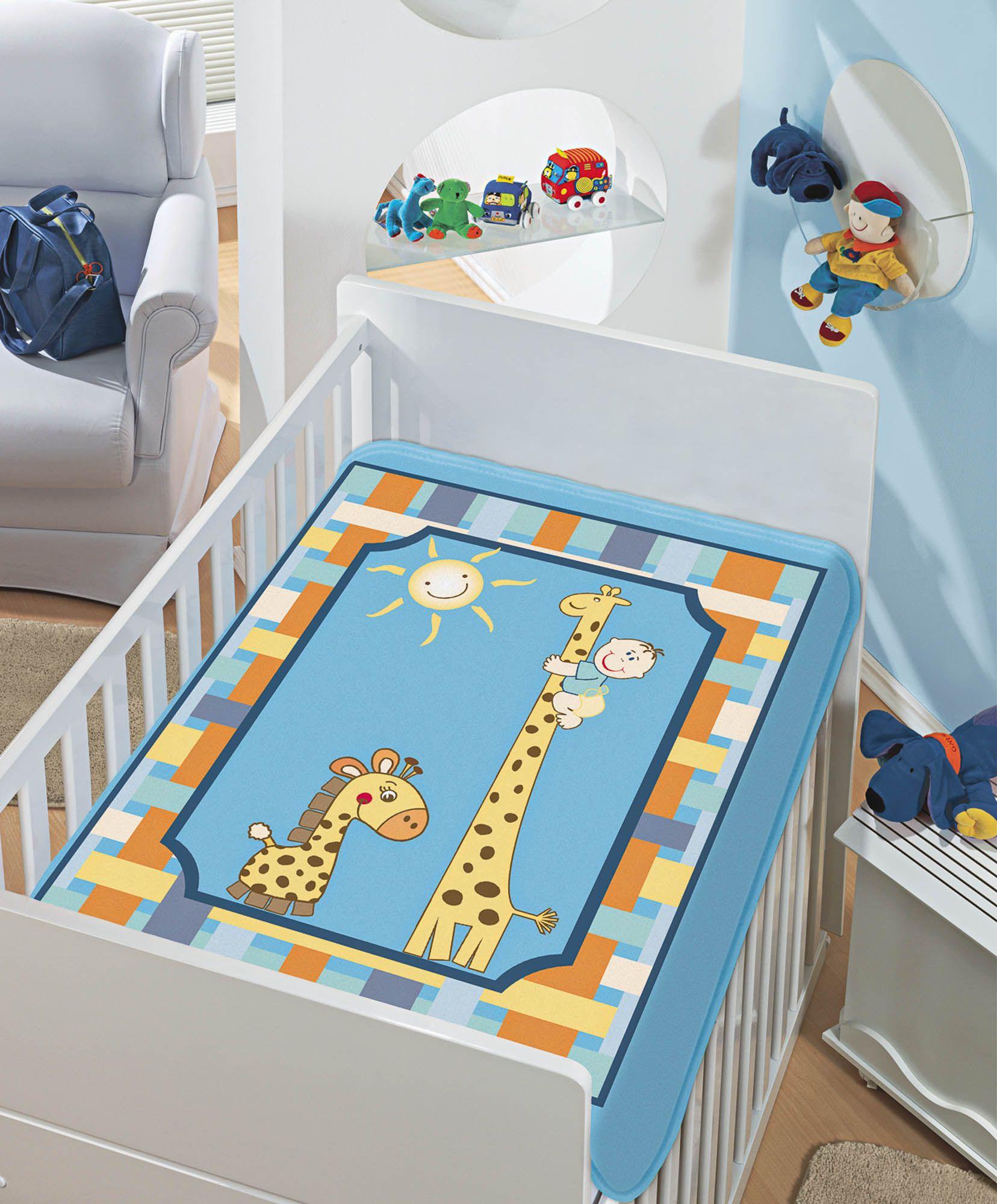 Cobertor Jolitex Raschel Infantil 0,90x1,10m Girafinhas Azul