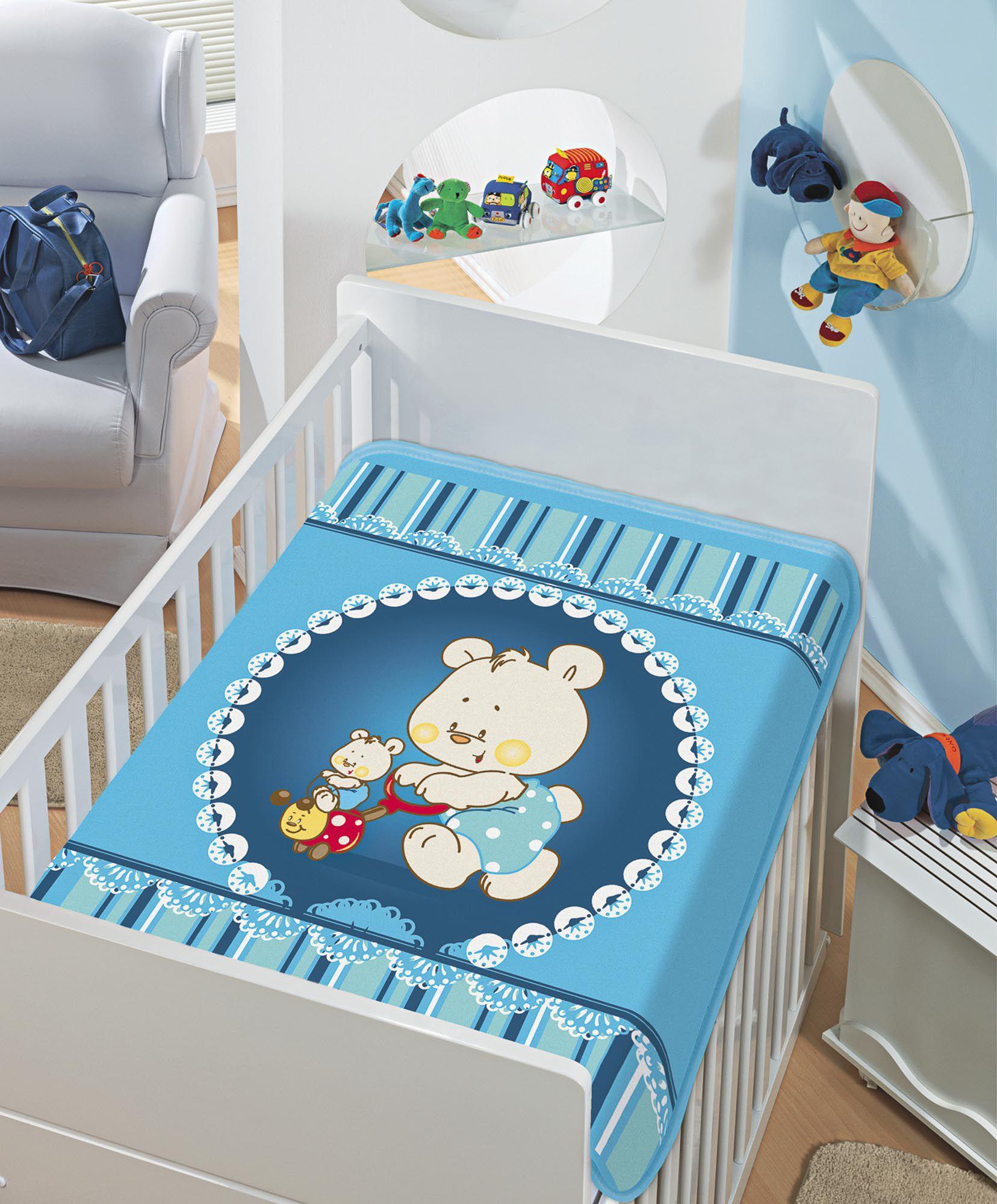 Cobertor Jolitex Raschel Infantil 0,90x1,10m Mamãe e Filhinho Azul