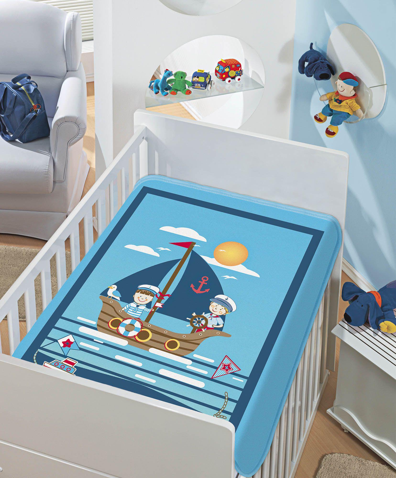 Cobertor Jolitex Raschel Infantil 0,90x1,10m Os Marinheiros Azul