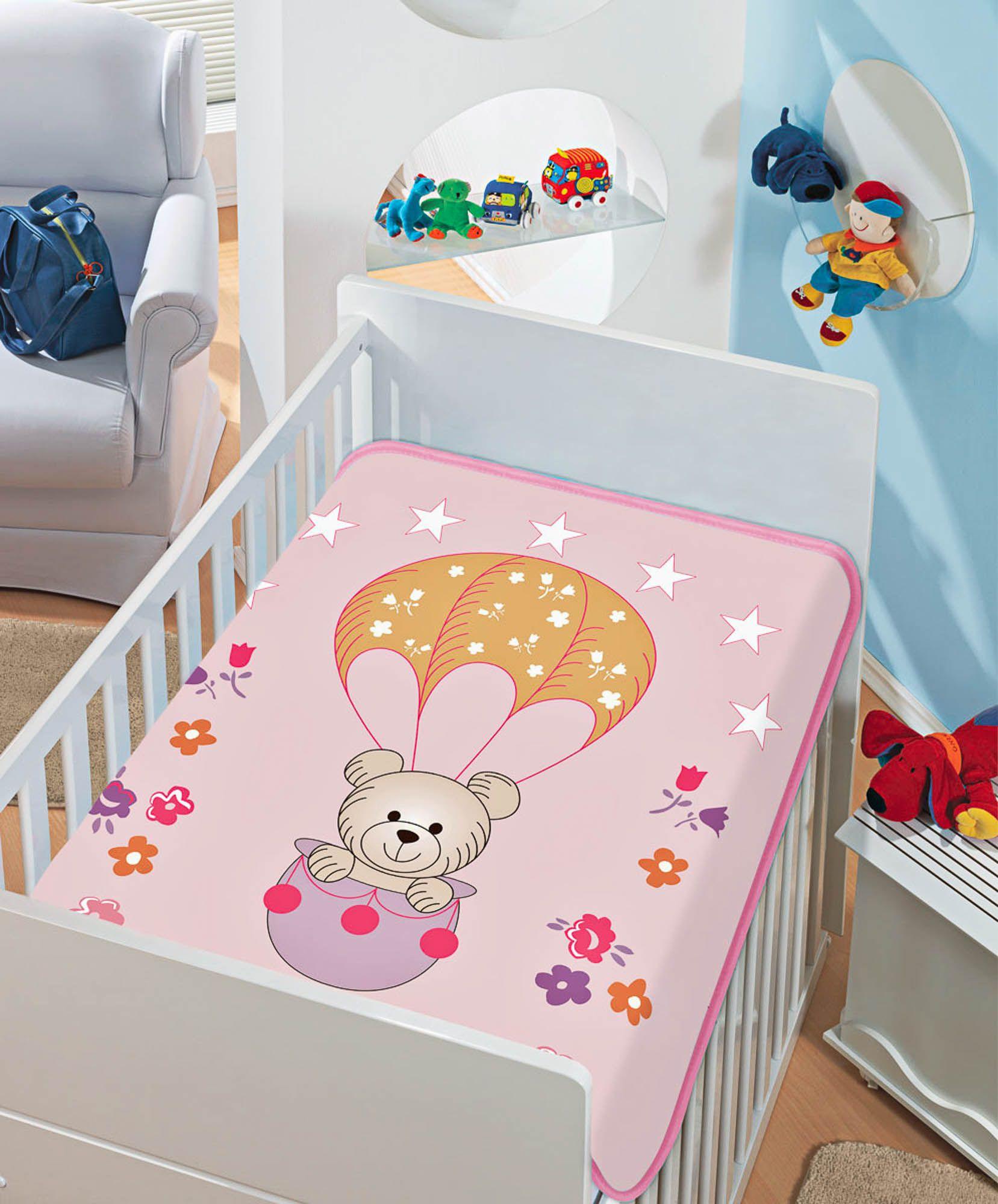 Cobertor Jolitex Raschel Infantil 0,90x1,10m Passeio de Balão Rosa