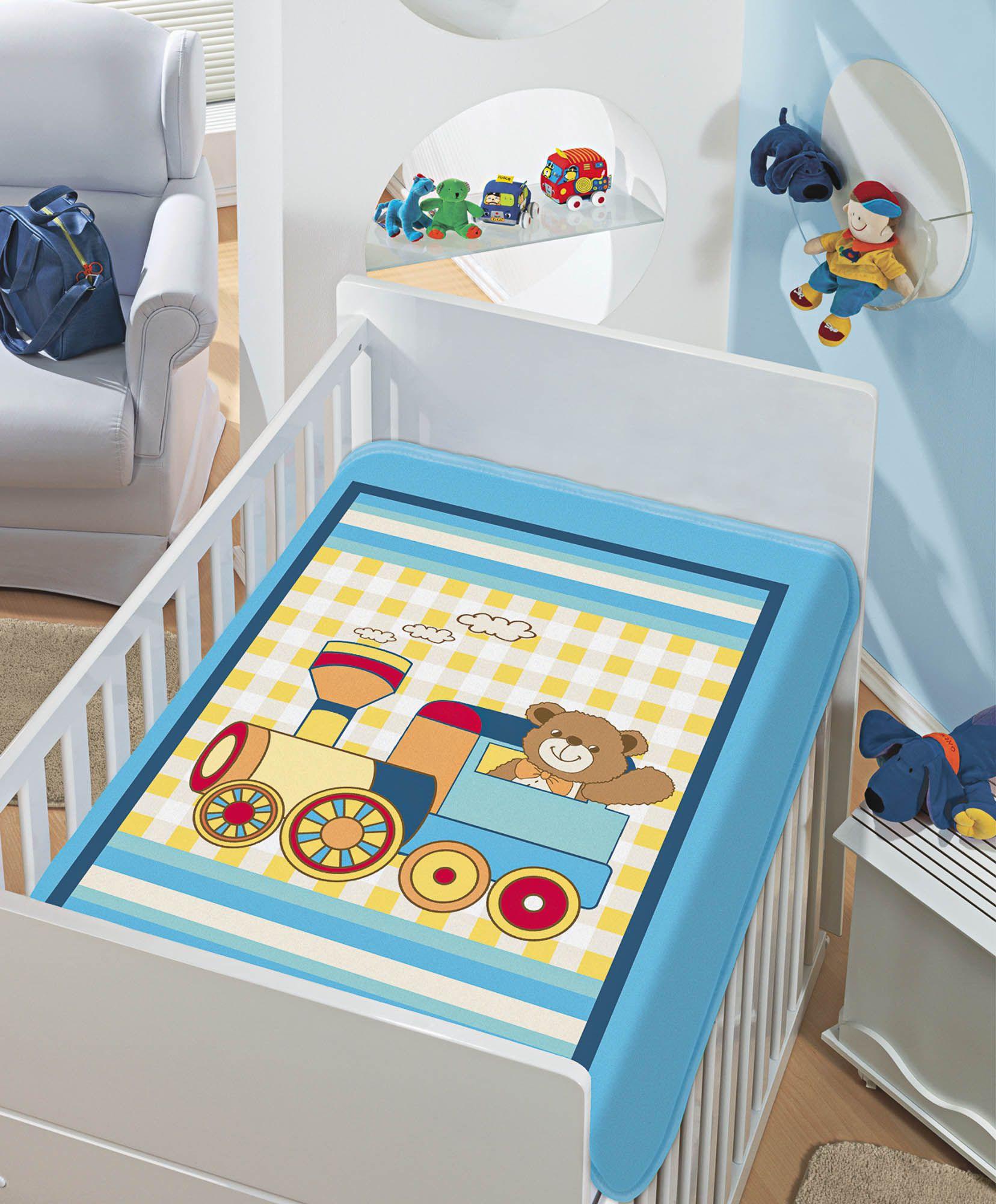 Cobertor Jolitex Raschel Infantil 0,90x1,10m Trenzinho Piui Azul