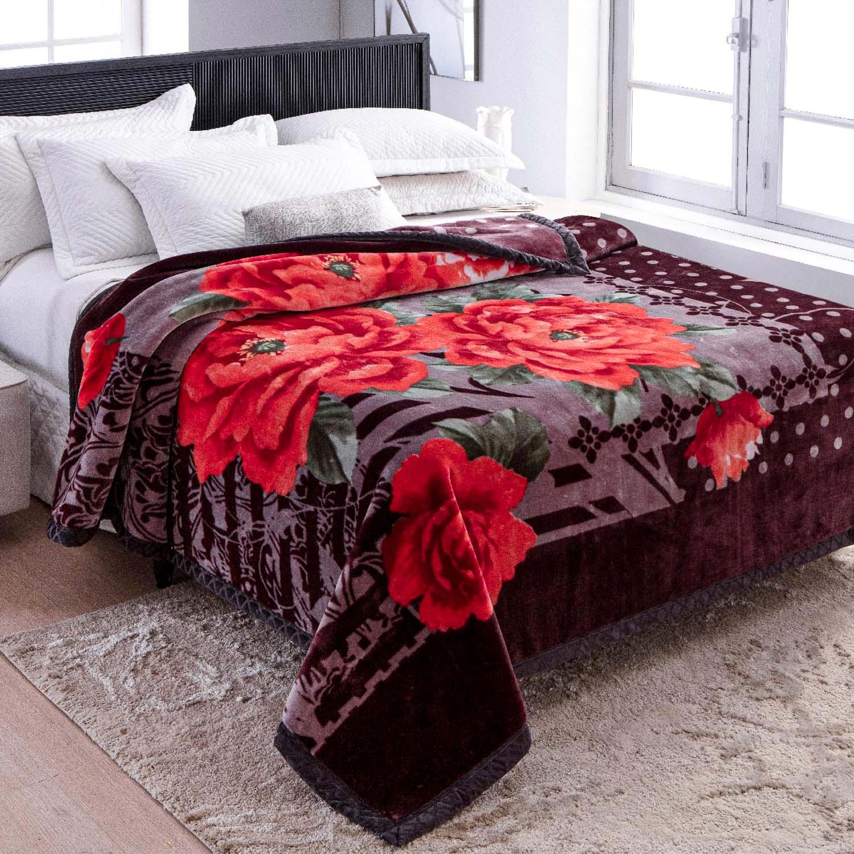 Cobertor Jolitex Raschel King 2,20x2,40m Bolero Vinho