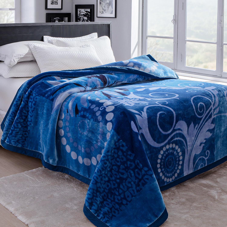 Cobertor Jolitex Raschel King 2,20x2,40m Sinfonia Azul