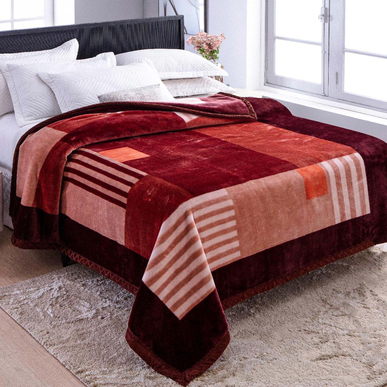 Cobertor Jolitex Raschel Plus Casal 1,80x2,20m Jazz Vinho