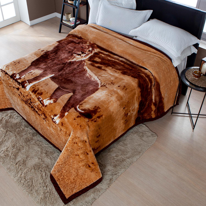 Cobertor Jolitex Raschel Plus Casal 1,80x2,20m Leão